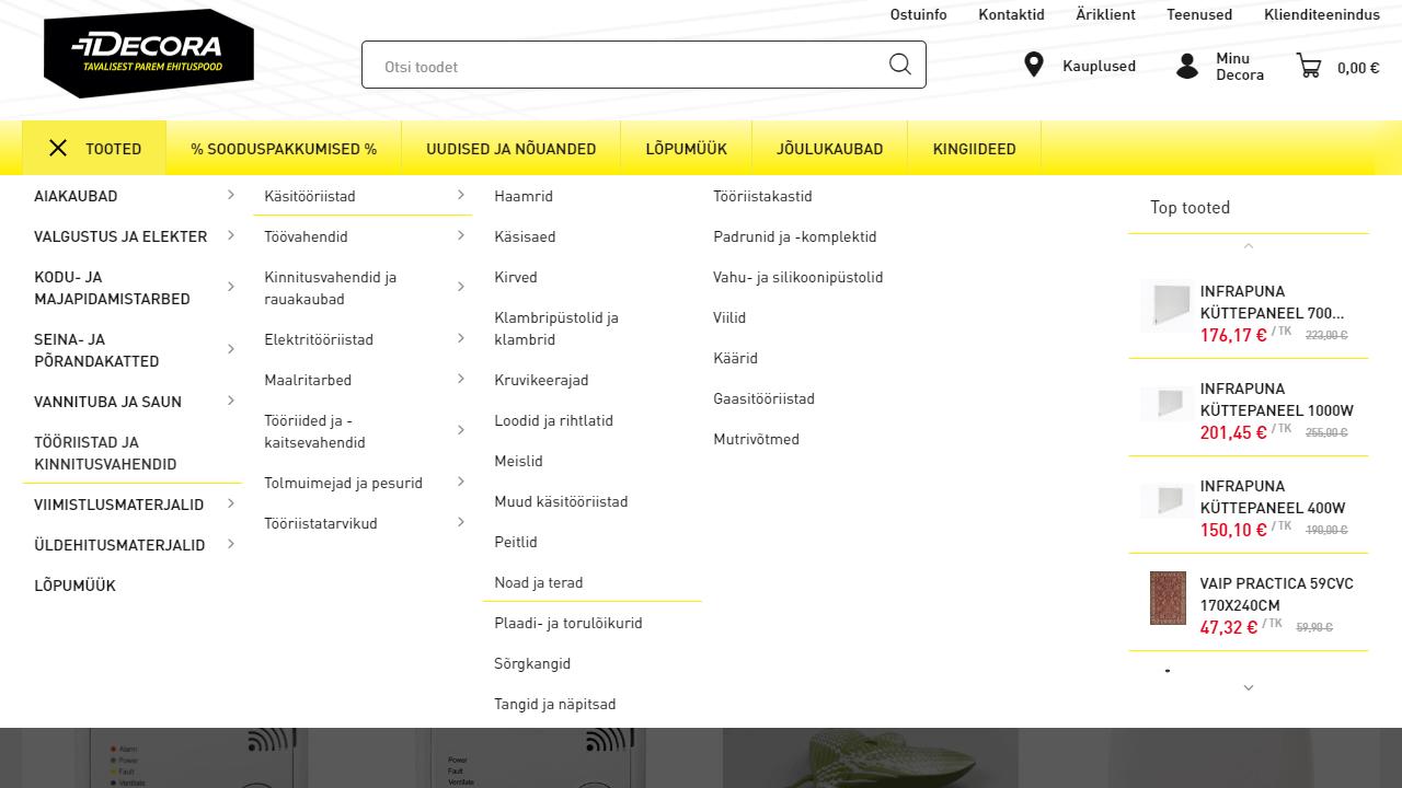 Decora menüü kasutajaliides